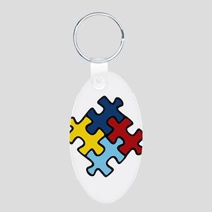 Autism Awareness Puzzle Aluminum Oval Keychain