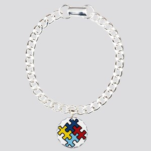 Autism Awareness Puzzle Charm Bracelet, One Charm