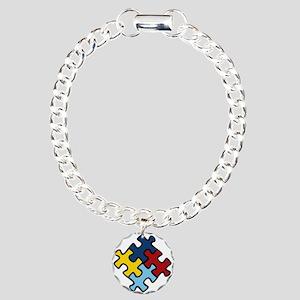 Autism Awareness Puzzle Charm Bracelet, One Charm