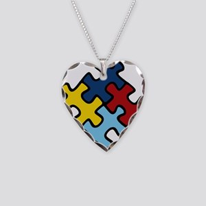 Autism Awareness Puzzle Necklace Heart Charm