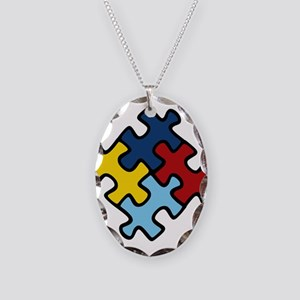 Autism Awareness Puzzle Necklace Oval Charm