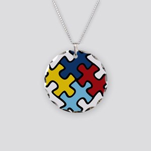 Autism Awareness Puzzle Necklace Circle Charm