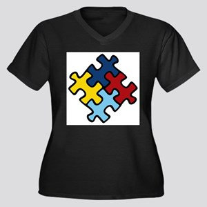 Autism Awareness Puzzle Women's Plus Size V-Neck D