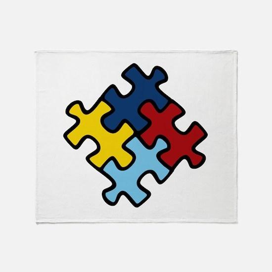 Autism Awareness Puzzle Throw Blanket