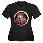 SPSCporthol Women's Plus Size V-Neck Dark T-Shirt