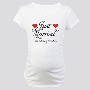 Just Marrried (Add Wedding Date) Maternity T-Shirt