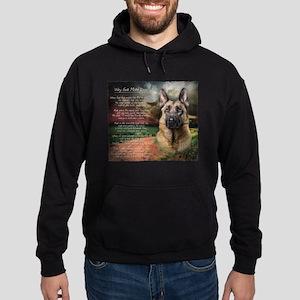 """Why God Made Dogs"" GSD Hoodie (dark)"