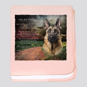 """Why God Made Dogs"" GSD baby blanket"
