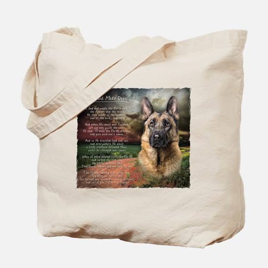 """""""Why God Made Dogs"""" GSD Tote Bag"""