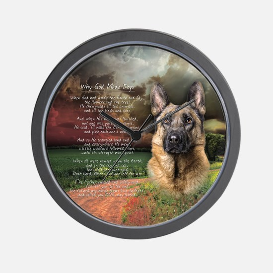 """""""Why God Made Dogs"""" GSD Wall Clock"""