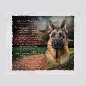 """Why God Made Dogs"" GSD Throw Blanket"