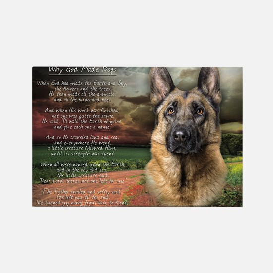 """Why God Made Dogs"" GSD Rectangle Magnet"