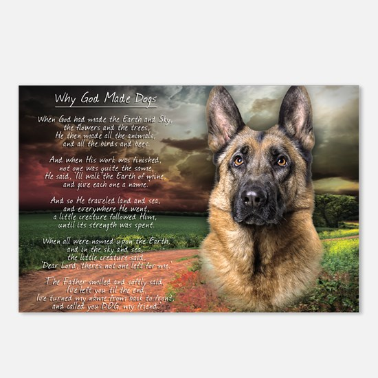 """""""Why God Made Dogs"""" GSD Postcards (Package of 8)"""
