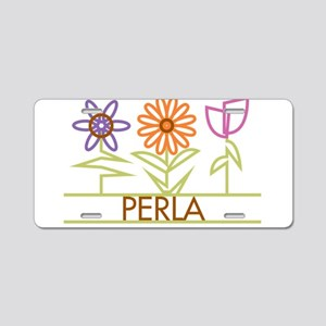 Perla with cute flowers Aluminum License Plate
