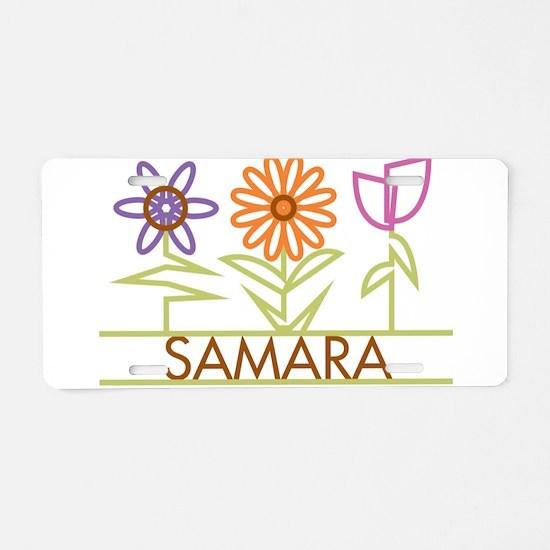 Samara with cute flowers Aluminum License Plate