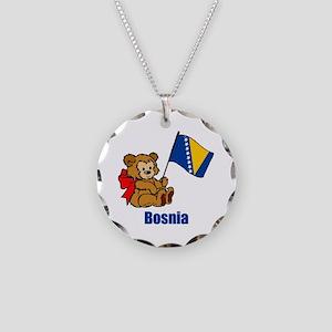 Bosnia Teddy Bear Necklace Circle Charm