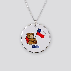Chile Teddy Bear Necklace Circle Charm