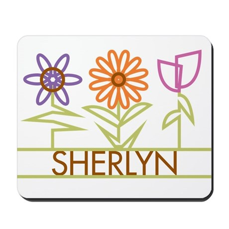 Sherlyn with cute flowers Mousepad