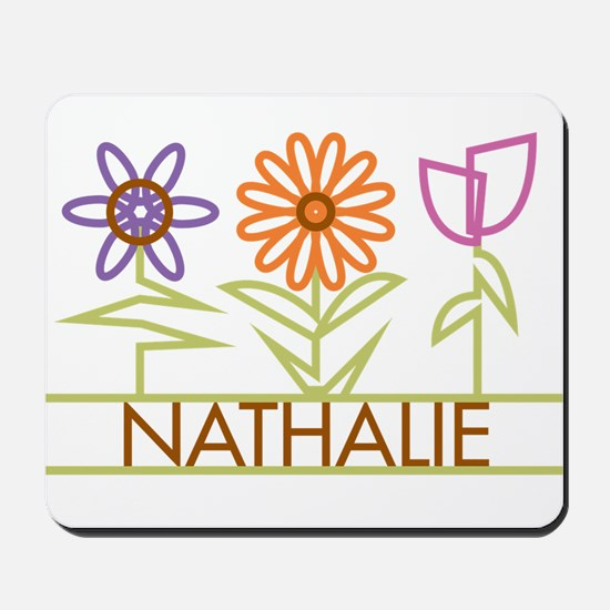 Nathalie with cute flowers Mousepad