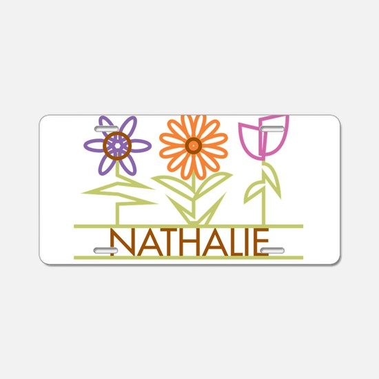 Nathalie with cute flowers Aluminum License Plate