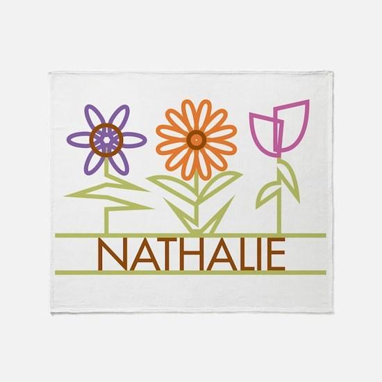 Nathalie with cute flowers Throw Blanket