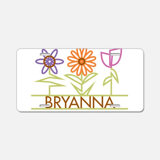 Bryanna with cute flowers Aluminum License Plate