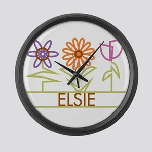 Elsie with cute flowers Large Wall Clock