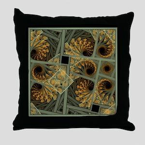 Escher Grey-Fern Throw Pillow