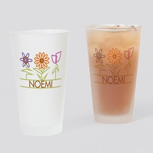 Noemi with cute flowers Drinking Glass