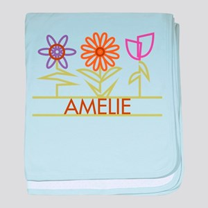 Amelie with cute flowers baby blanket