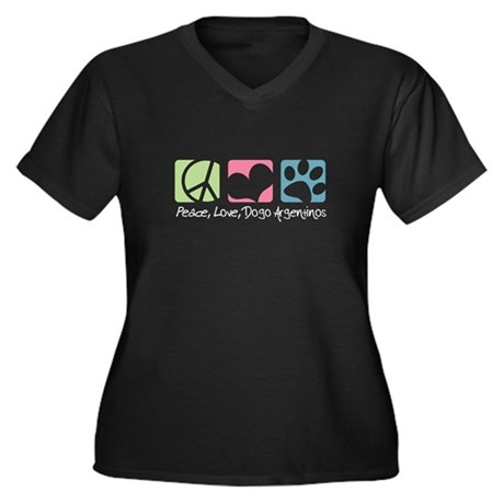 Peace, Love, Dogo Argentinos Women's Plus Size V-N