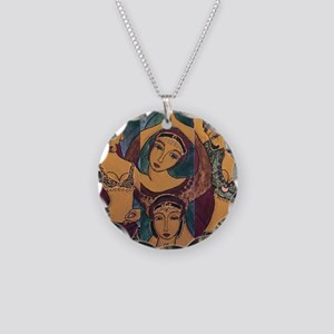 Sisters In Dance Necklace Circle Charm