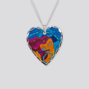 Flute Player Necklace Heart Charm
