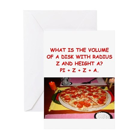 funny math/pizza joke Greeting Card