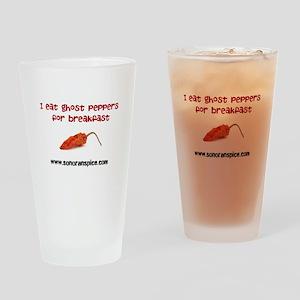 I Eat Ghost Peppers for Break Drinking Glass