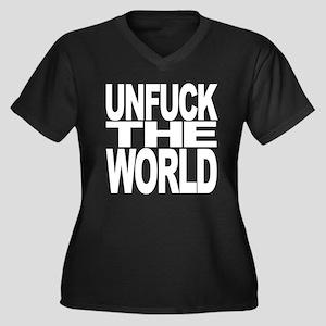 Unfuck The World Women's Plus Size V-Neck Dark T-S