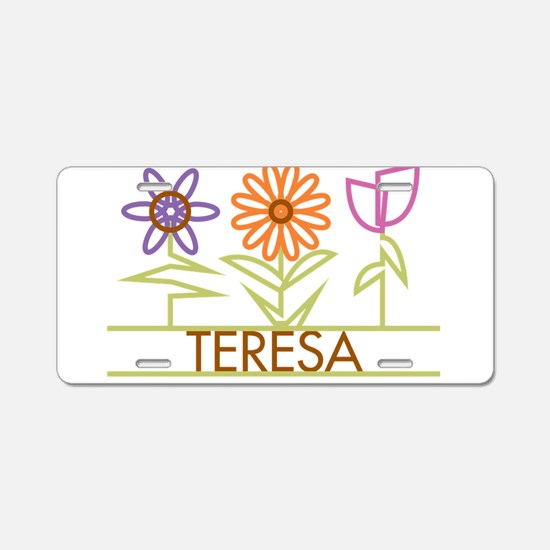 Teresa with cute flowers Aluminum License Plate