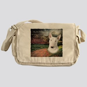 """Why God Made Dogs"" Bull Terrier Messenger Bag"