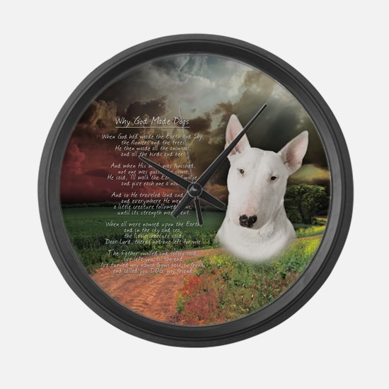 """""""Why God Made Dogs"""" Bull Terrier Large Wall Clock"""