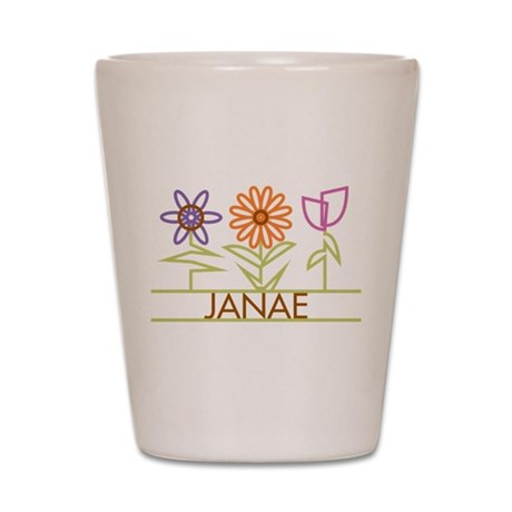 Janae with cute flowers Shot Glass