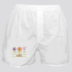 Abril with cute flowers Boxer Shorts