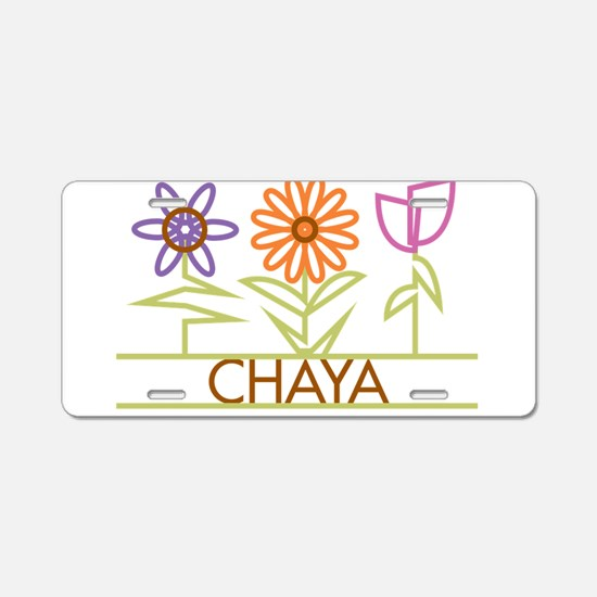 Chaya with cute flowers Aluminum License Plate