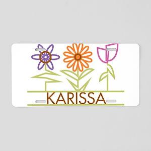 Karissa with cute flowers Aluminum License Plate