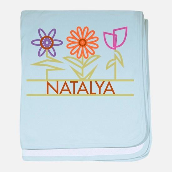 Natalya with cute flowers baby blanket