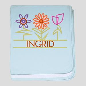 Ingrid with cute flowers baby blanket