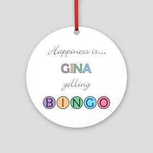 Gina BINGO Round Ornament