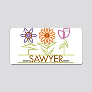 Sawyer with cute flowers Aluminum License Plate