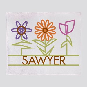 Sawyer with cute flowers Throw Blanket