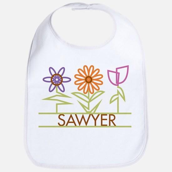 Sawyer with cute flowers Bib