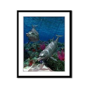 Dolphins Framed Panel Print